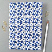 Geometric A5 Notebook In Blue And Cream