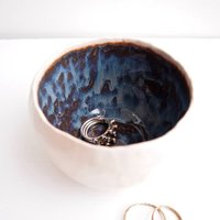Handmade Dark Brown/Blue Ceramic Ring Bowl