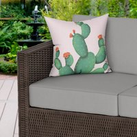 Prickly Pear Print Pink Water Resistant Outdoor Cushion