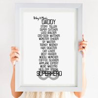 Personalised Daddy My Superhero Poem Print