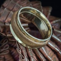 Eco Gold And Cocobolo Wood Interlocking Wedding Ring, Gold