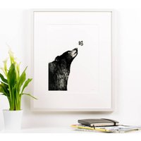 Bear And Butterfly Children's Illustration Print