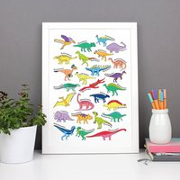 Alphabet Dinosaur Poster Print