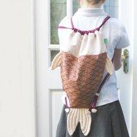 Fish Shaped Drawstring Bag, Red/Pastel Pink/Pink