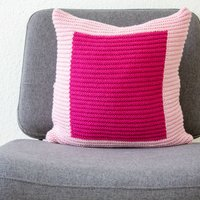 Hand Knit Colourblock Cushion In Pink And Scarlet