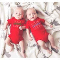 Matching Twin Baby Vests