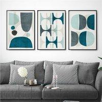 Set Of Three Blue Abstract Wall Art Prints