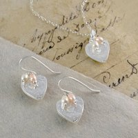 Heart Earrings And Necklace Pearl Silver Jewellery Set, Silver