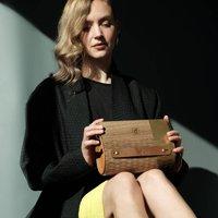 Ebony Hardwood And Vegan Leather Clutch Bag