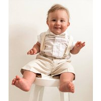 Ring Bearer Page Boy 4pc Linen Blend Brace Suit, Blue