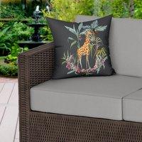 Painted Giraffe Water Resistant Garden Outdoor Cushion