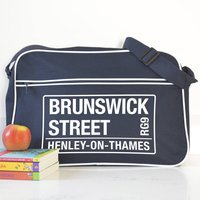 Personalised French Navy Street Name Shoulder Bag