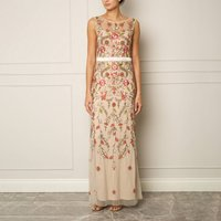 Nude Embellished Maxi Gown