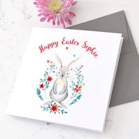 Personalised Easter Bunny Floral Card