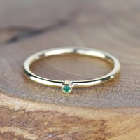 Solid 9ct Gold Custom Single Birthstone Stacking Ring, Gold