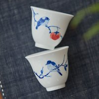 Blue White Porcelain Cup Set Of Two Birds