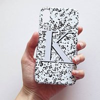 Black And White Alphabet Speckle Monogram Phone Case