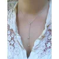 Long Silver Droplet Necklace, Silver