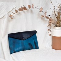 Personalised Leather Document Clutch Bag