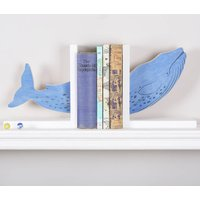 Handpainted Blue Whale Bookends, Blue
