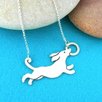 Sausage Dog Dachshund Sterling Silver Necklace, Silver