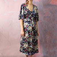 Wrap Dress In Blue And Pink 1940s Floral Print Crepe