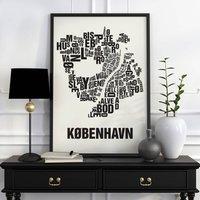 Copenhagen Letter Map Screen Print