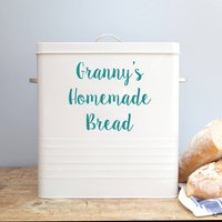 Personalised Bread Bin, Orange/Baby Blue/Blue