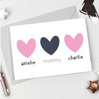 Personalised Siblings Hearts Card