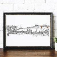 Aberdeen City Skyline Black And White Art Print