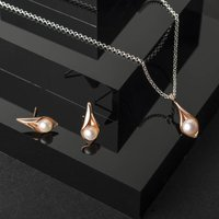Calla Lily Rose Gold Pendant And Studs Jewellery Set, Gold