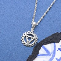Sterling Silver Throat Chakra Necklace, Silver
