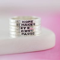 Personalised Sterling Silver Mini Stacking Rings, Silver