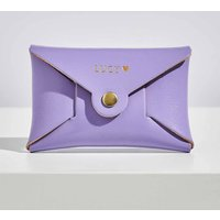 Personalised Lilac Leather Card + Coin Purse