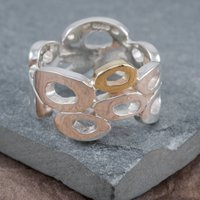 Sterling Silver And 9ct Gold Cloud Ring, Silver