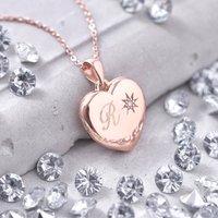 Personalised Genuine Diamond 18ct Rose Gold Locket, Gold