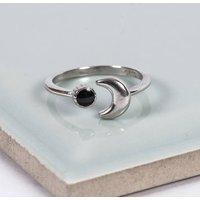 Silver Dark Moon Midi Ring, Silver