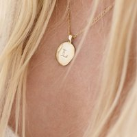 Womens Gold Vermeil Initial Message Necklace, Gold