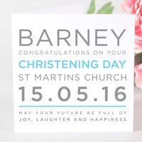 Personalised Typography Christening Day Card, Blue/Pink