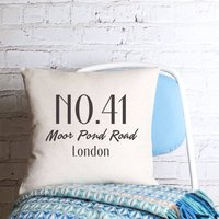 New House Personalised Cushion Cover, Black/White