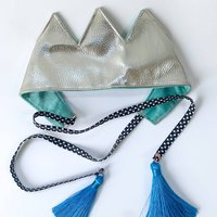 Velvet And Faux Leather Silver Party Crown