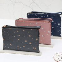 Personalised Luxury Star Leather Wrist Strap Clutch Bag