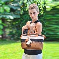 Paracas Detail Nicole Handmade Handbag, Black