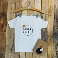 Girls Rule / Boys Rule Baby T Shirt, Black/White/Navy