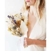 Blue And Gold Dried Flower Wedding Bouquet