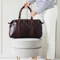 Leather Holdall Bag, Brown