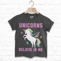 Unicorns Believe In Me Children's Slogan T Shirt