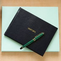 Jubilee Small Plain Visitors Book, Aqua/Navy/Green