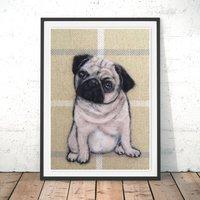 Pug Fine Art Print By Felt Artist Sharon Salt