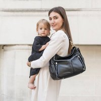 Lennox Midi Black Leather Handbag